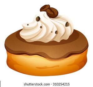 Doughnut with cream and coffee flavor illustration
