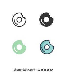 doughnut icons vector with four different styles