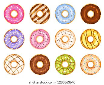 doughnut vector set, colorful tasty sweets illustration