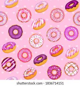 doughnut vector set, dark tasty sweets illustration