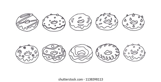Doughnuts black outline illustration set. Donut set with different and abstract design. American fast food for all type of peoples. Sweet dessert decoration. Lovely donut black outline silhouette.