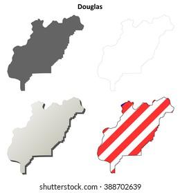 Douglas County, Washington blank outline map set
