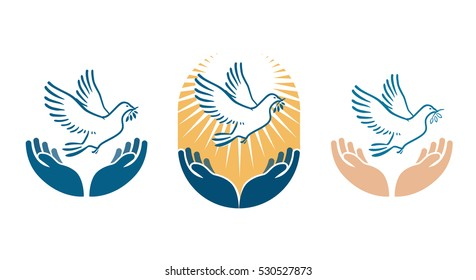 Dove bird carrying olive branch in beak as a peace symbol. Vector logo or icon