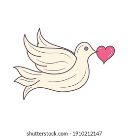 Dove Bird holding heart vector illustration, colored isolated linear style pictogram