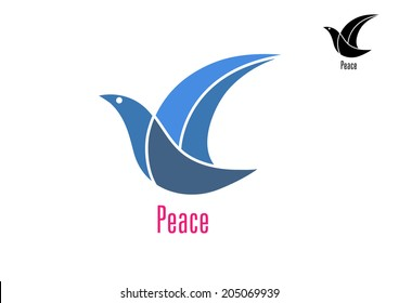 Dove bird with text as a symbol or logo peace isolated on white background