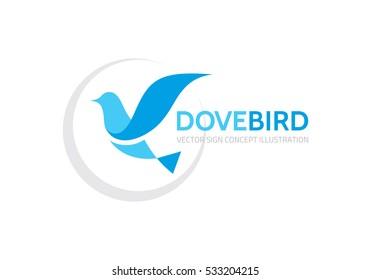 Dove bird - vector logo template concept illustration in classic graphic style. Design element.