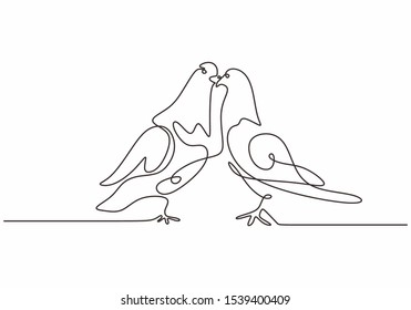 Dove birds couple continuous one line drawing minimalism animal sketch hand drawn.