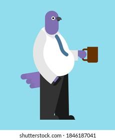 Dove businessman. pigeon boss. bird in suit. Fowl office clerk