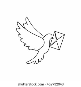Dove carrying envelope icon in outline style isolated vector illustration