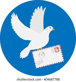 Dove carrying envelope isolated on blue background. Pigeon with letter. Pigeon letter mail Icon. Icon Vector EPS. Pigeon letter mail drawing. Vector minimal flat illustration