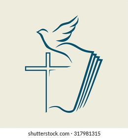 Dove, cross, open Bible, icon