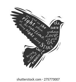 Dove. Gentle creative illustration in vector. Rubber stamp.