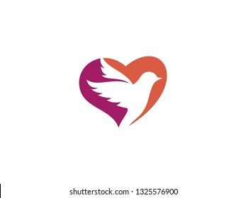 Dove with Heart vector modern logo