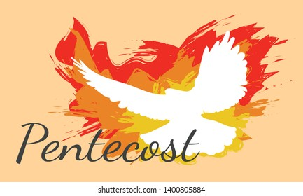 Dove, Holy Spirit, and Flame for Pentecost in Pastel Orange Background