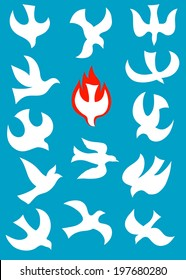 Dove, dove Holy spirit silhouette art picture, vector