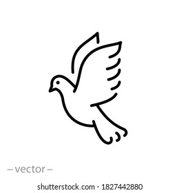 dove icon, freedom and peace concept, flying pigeon, christmas bird, thin line web symbol on white background - editable stroke vector illustration eps10