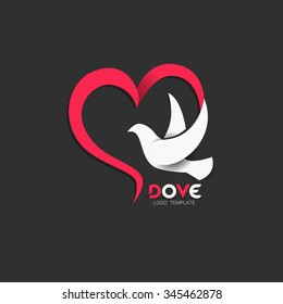 Dove Icon with Heart Shape. Logo Template