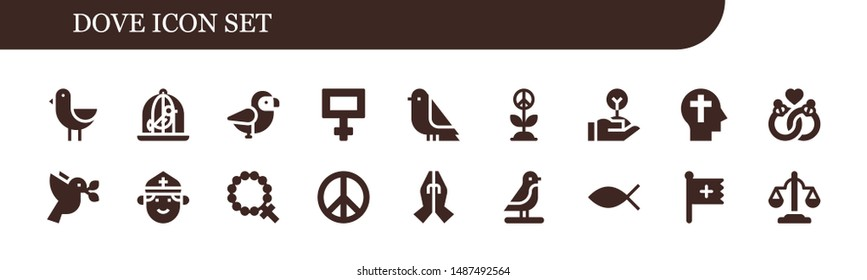 dove icon set. 18 filled dove icons.  Collection Of - Bird, Dove, Peace, Freedom, Faith, Marriage, Priest, Rosary, Prayer, Christianity, Christian, Equality