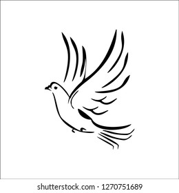 Dove icon vector, Pigeon icon vector, Red dove, Red Pigeon illustration vector logo background for web and apllications