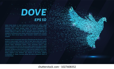 Dove made of particles. The dove consists in dots and circles. Blue dove on a dark background.