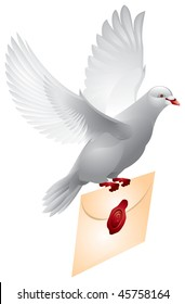 Dove mail. Realistic Flying pigeon with the letter in vector, a symbol of post, mail, communications, email