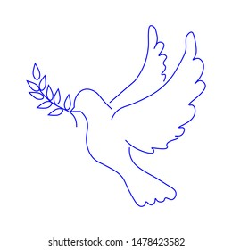 Dove with olive branch sign. Peace sign