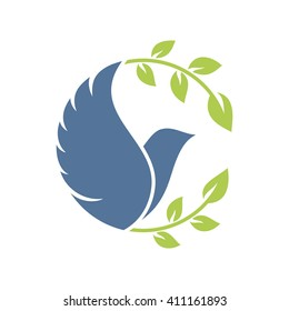 Dove with olive branch. Vector icon.
