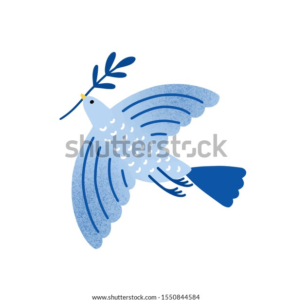 Dove with olive branch vector illustration. Bird, pigeon holding plant twig isolated on white background. Traditional Jewish holiday symbol. International peace and freedom metaphor.