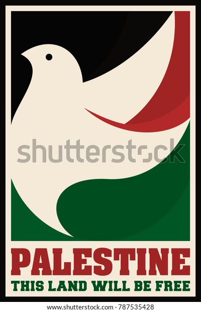 Dove of Peace. Bird of Palestine. Symbol of Peace and Free. Vintage poster for Palestine Propaganda. Vector image eps 8.
