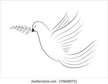 Dove of Peace with branch of tree. Line style. Vector illustration. Isolated. Wedding concept. As template for invitation, greeting card, postcard, sticker, print