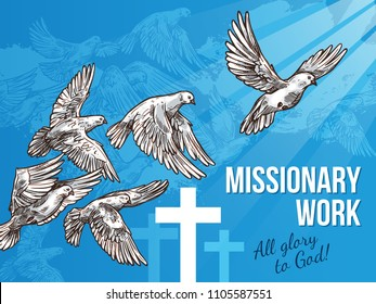 Dove of peace and crucifix banner for missionary work concept. White pigeon bird flying up to light sketch poster for International Day of Peace or religion themes design