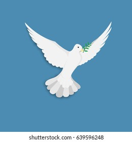 Dove of peace flying with olive green trees flooded after flooding on a blue background.