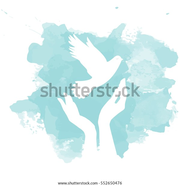 Dove of Peace flying from open hands. Symbol of purity and freedom. Perfect for cards, gift for holidays and special occasions.