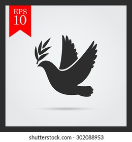 Dove of peace icon. Flying bird. Peace concept. Pacifism concept. Free Flying symbol. Vector simple icon for presentation, training, marketing, design, web. Can be used for creative template, logo.