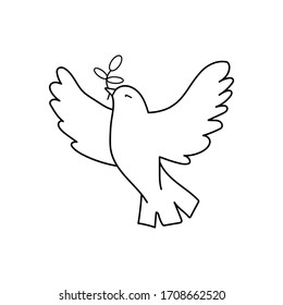Dove Of Peace. Illustration with dove holding an olive branch symbolising peace on earth. Line Art dove. Ink painting style. Line art for logo and design. Vector illustration. Peace logo.