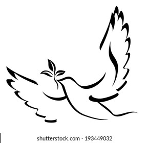 Dove Of Peace. Illustration with dove holding an olive branch symbolizing peace on earth. Hand drawn brushstroke dove. Ink painting style. Line art for logo and design. Vector illustration.