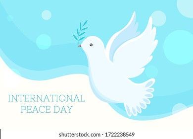Dove of peace. International peace day. Flat vector banner.  Illustration of white dove of peace flying with green olive twig with space for text.
