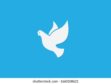 Dove of peace on blue background. Vector illustration