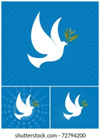 The Dove of Peace - White dove with a olive branch. Vector Illustration.