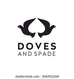 Dove Pigeon Bird Spade Poker Game Card, negative space logo design inspiration
