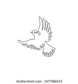 Dove or pigeon continuous line drawing, peace freedom or post mail delivery, tattoo, print for clothes and logo design, silhouette one single line on a white background, isolated vector illustration.