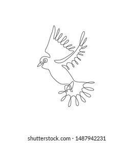 Dove or pigeon continuous line drawing,peace freedom or post mail delivery, tattoo, print for clothes and logo design, silhouette one single line on a white background, isolated vector illustration.