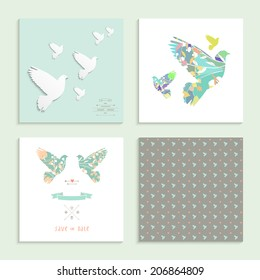 Dove. Set of four cards. Vector illustration.