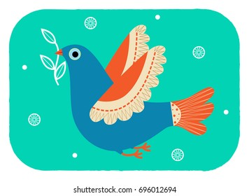 Dove - Stylized dove with olive branch in her beak. Eps10