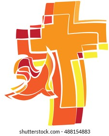 A dove - symbol of the Holy Spirit on a flaming cross. Fire warm colors of Pentecost or sacrament of Confirmation. Orange, yellow and red tones.