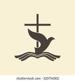 Dove, water, Bible, cross, icon
