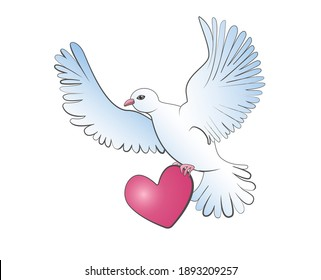 A dove in white and blue tones flies and holds its heart in its paws. Vector illustration in cartoon style isolated on white background.