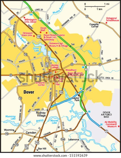 map of dover delaware area Dover Delaware Area Map Stock Vector Royalty Free 151592639 map of dover delaware area