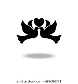 Doves in love symbol.