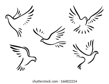 Doves and pigeons birds logo set for peace concept and wedding design